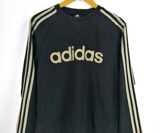 5a49fb6d2188 Vintage 90 s ADIDAS SPORTS Sweatshirts Women Small Pullover Adidas Three Stripes  Black Adidas Crewneck Jumper Adidas Sweater Size S