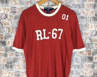 9f46eaa0b2d5 POLO RALPH LAUREN Shirt Ringer Large Vintage 1990s Polo Sport Usa Red Ralph  Lauren Sportswear Polo Rl 67 Polo Hip Hop Tee T shirt Size L