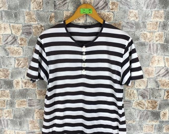 5aa88d5a1d Vintage 80 s Stripes Tshirt Medium 90 s Rockabilly Striped Border Skaters  White Black Grunge Og Streetwear Women Tshirt Size M