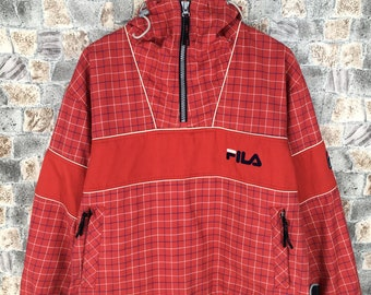 89fd90f8c3 Vintage 90's FILA ITALIA Jacket Windbreaker Medium Fila Streetwear Plaid  Checkered Red Fila Sports Red Half Zipper Hoodie Jacket Size M