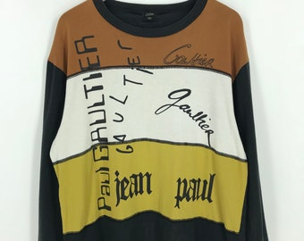 d86bdabcfa65 JEAN PAUL GAULTIER Shirt Large Unisex Japan Designer Jpg Gaultier Homme  Japan Spell Out Colorblock Long Sleeves Tshirt Size L