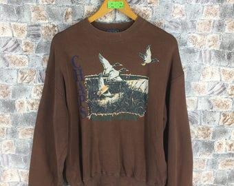 c182b1839d8 CHAPS RALPH LAUREN Sweatshirt Medium Vintage Ralph Lauren Duck Hunting Polo  Sportsman Pullover Polo Jumper Brown Unisex Sweater Size M