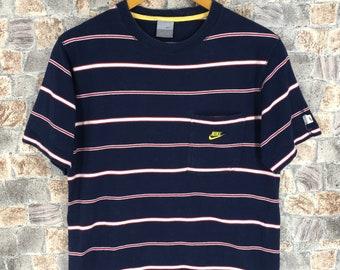32c32e01bf Vintage 90 s NIKE Swoosh Shirt Mens Medium Nike Sportswear Border Stripes  Skater Nike Sb Sports Blue Streetwear Grunge Stripes Tee Size M