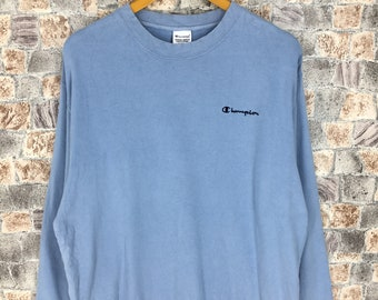 277d018cd8ee Vintage 90s CHAMPION USA Jumper Mens Large Streetwear Champion Sports  Pullover Blue Sweaters Champion Athletic Wear Sweatshirts Size L
