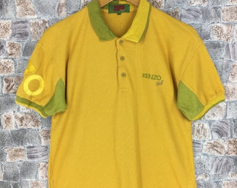 aef8cb90 Vintage KENZO GOLF Paris Polos Shirts Medium Men 90's Kenzo Jeans Paris Big  Logo Paris Designer Yellow Mustard Polo Shirt Men Size M
