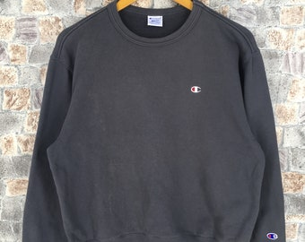 d644be47d1ff CHAMPION USA Jumper Unisex Medium Streetwear Vintage 90s Champion Sports  Pullover Sweaters Champion Athletic Wear Black Sweatshirts Size M