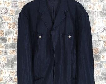 6bb79fa2ba5 VERSACE JEANS COUTURE Blazers Mens grote Vintage jaren 90 Gianni Versace  formele Blazer Buttondown Versace Medusa donker blauw Casual jas maat L