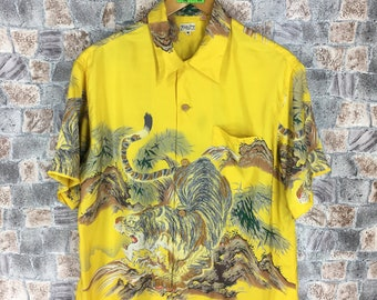 1e2326972 Vintage 80s HAWAIIAN Tiger Roar Silk Shirt Medium Yellow Tiger Roar Japanese  Silk Novelty Baroque Sukajan Rayon Button Up Shirt Size M