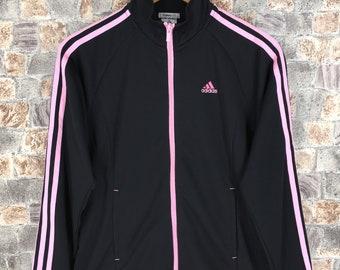50a7782980a2 ADIDAS Firebird Jacket Medium Ladies Vintage 90 s Adidas 3 Stripes Black  Pink Sportswear Windbreaker Adidas Black Track Jacket Size M