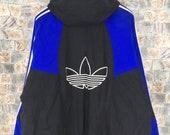 Vintage 90s ADIDAS Run Dmc Hoodie Jacket XLarge Adidas Trefoil Three Stripes Hip Hop Quilted Coats Sportswear Adidas Bomber Coats Size XL