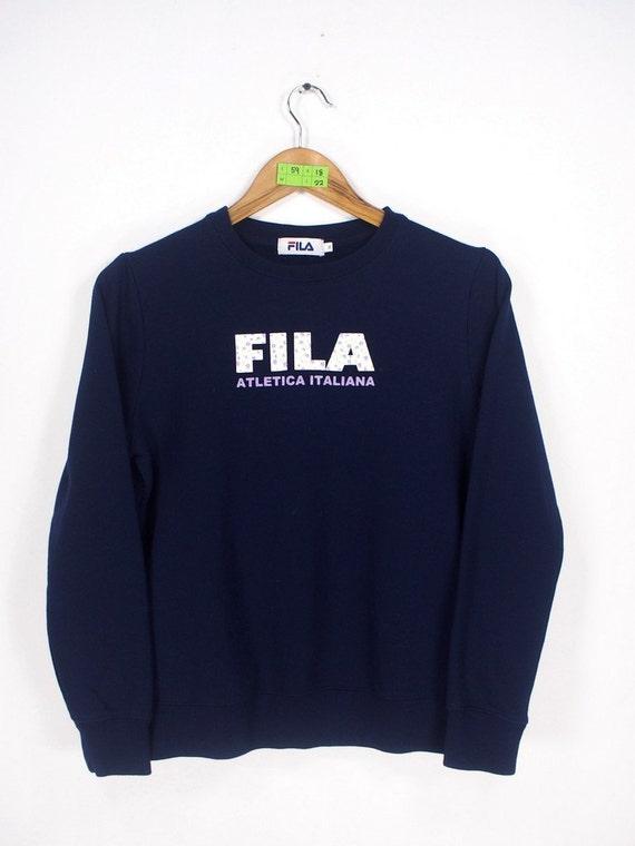 FILA Sports Athletica Italiana Sweatshirts Pullover Girl Medium Vintage FILA 1990's Sportswear Crewneck Jumper Sweatshirt Size M
