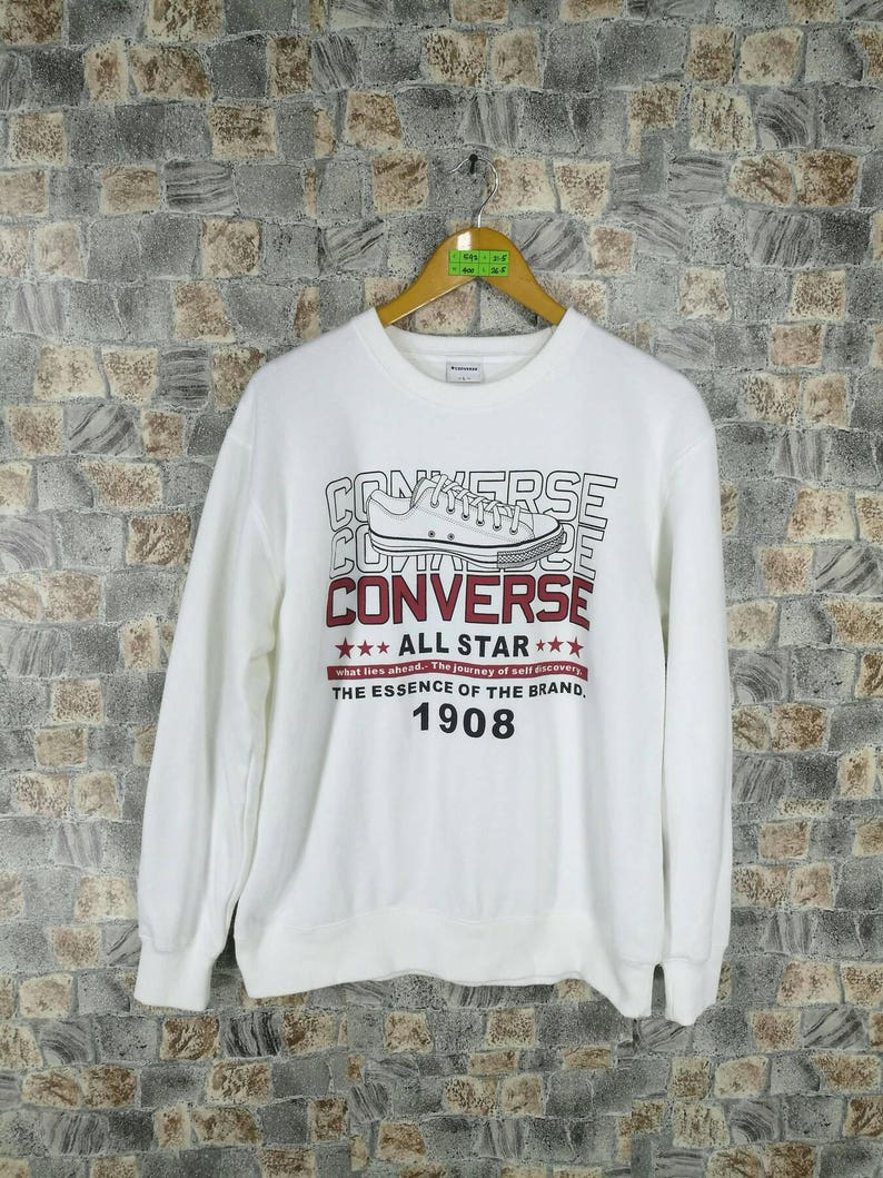97babeafc1 CONVERSE All Star Sweatshirt White Large Size Vintage 90s All