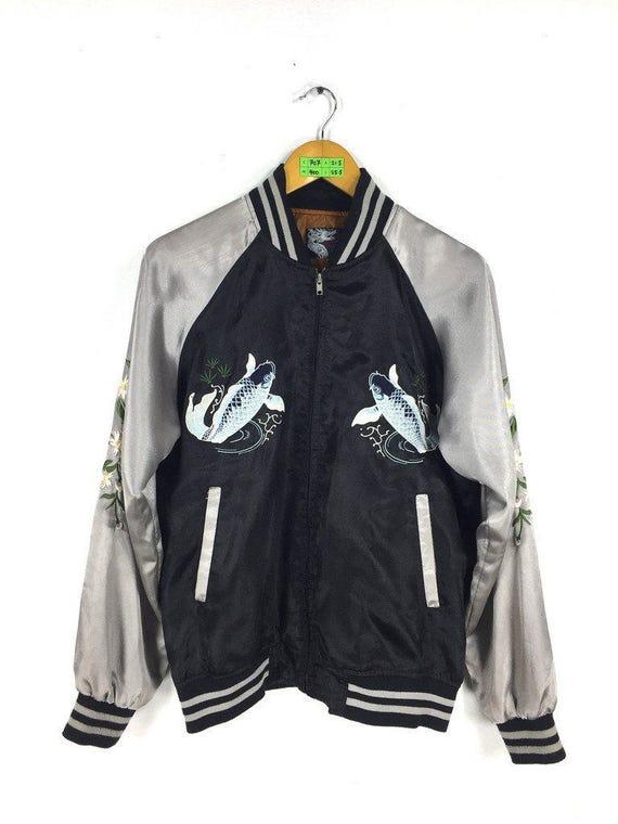 Jacket Unisex Koi Medium M SUKAJAN Bomber Koi Sukajan Sukajan Satin Size Jacket War 1980s Vintage Korean Fish Harajuku Japanese Fish wInqIEfR8t