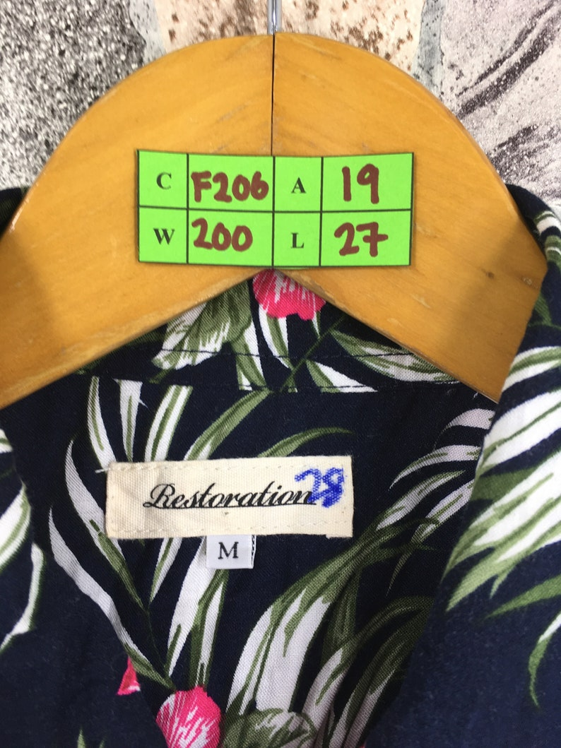 Vintage Sunwear Floral Button Up Medium Hawaiian Hibiscus Multicolour Hawaii Aloha Rockabilly Beach Surf Party Rock N Roll Shirt Size M