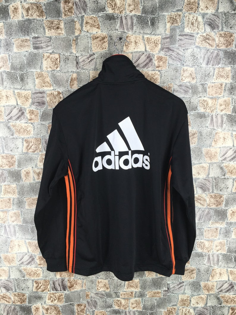 78e5aa55c327b ADIDAS Track giacca Top Medium Vintage degli anni ' 90 Adidas attrezzature  grande Logo tre strisce Sportswear giacca a vento Adidas Trainer nero ...