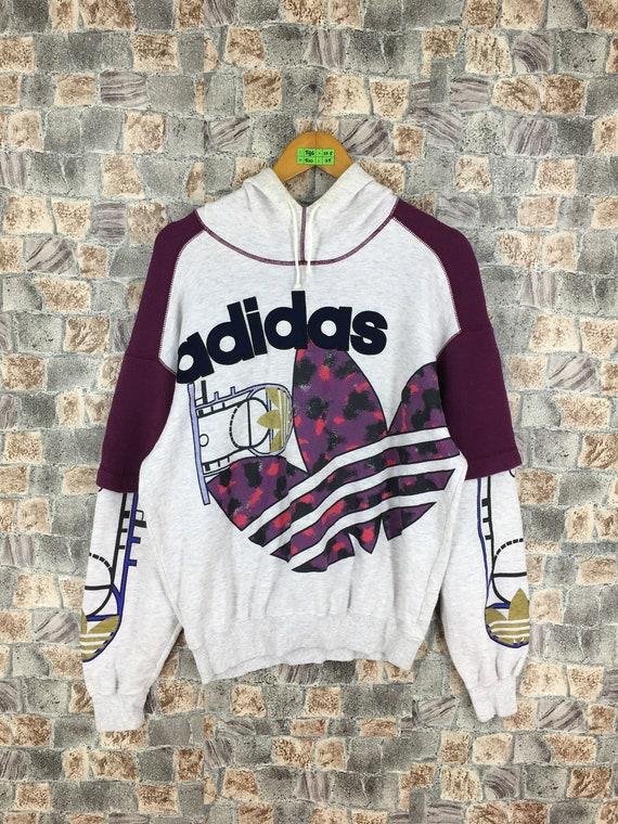 cc8f8d2c597b5 ADIDAS Trefoil Sweatshirt Hoodie Medium Vintage 80s Adidas   Etsy