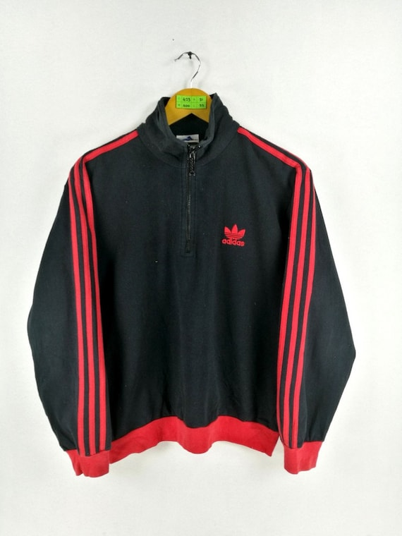 Vintage 90er Jahre ADIDAS TREFOIL Pullover Sweatshirt Medium Adidas drei Streifen schwarz Adidas Crewneck Sportswear Adidas Pullover Größe M