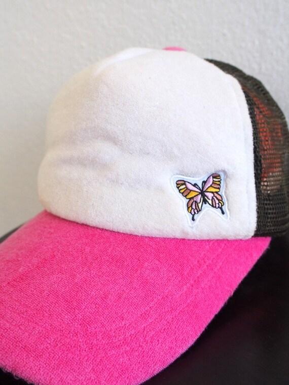 Pink BUTTERFLIES Baseball Cap Girl Pink Cap Vintage 90s Usa  3f7c33c5a6fb