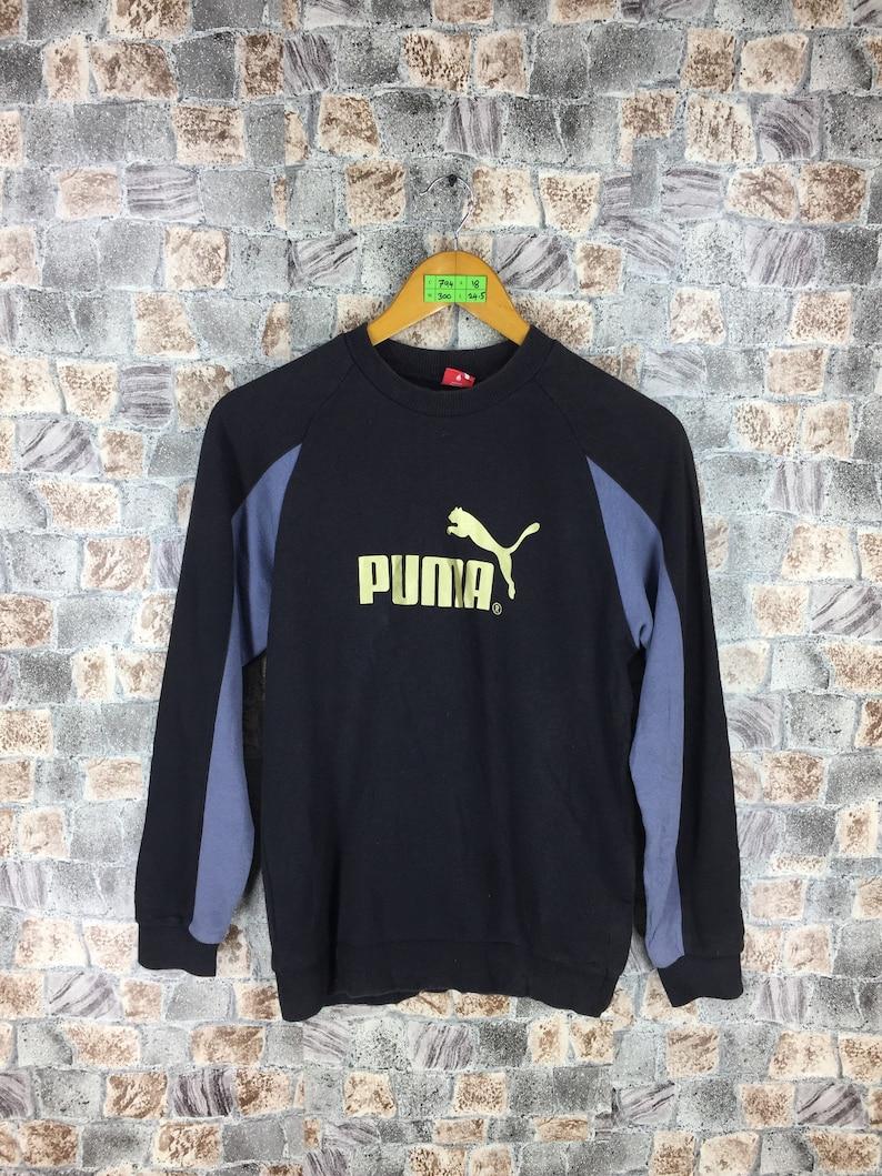 ad7f6239605 Vintage 90's PUMA SPORTSWEAR Sweatshirts Women Small Puma Black Crewneck  Streetwear Jumper Puma Sportswear Activewear Sweater Size S