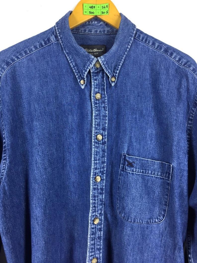 de907f22255 EDDIE BAUER Denim Shirt Large Vintage 1990s Eddie Bauer
