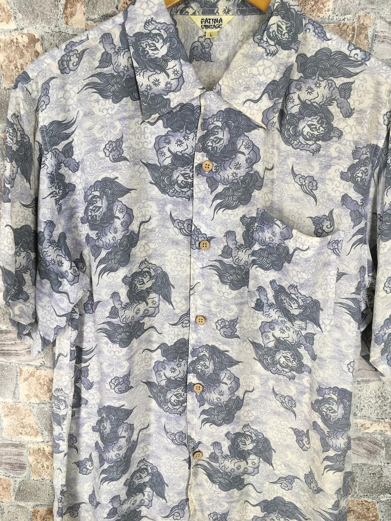 HAWAIIAN Raijin Rayon Shirt Mens Large Vintage Hawaii Surf Honolulu Japanese Raijin Dragon Rayon Shirt Buttondown Size L