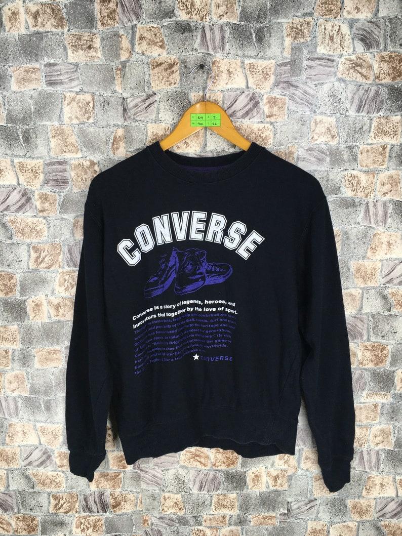 c257b96487cb8 CONVERSE All Star Sweatshirt Black Medium Vintage 90s All Star Sweaters  Converse Chuck Taylor Usa Converse Pullover Sweaters Size M