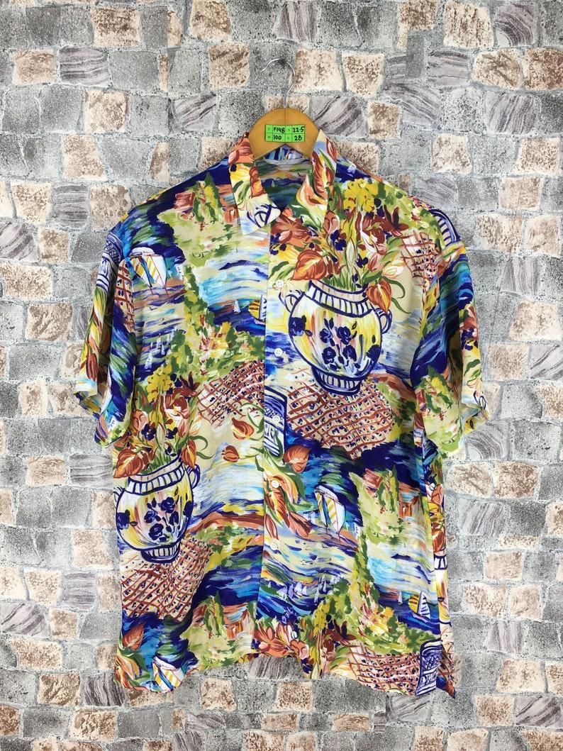 Vintage HAWAIIAN Surf Buttondown Medium Aloha Printed Hawaii Oahu Painter Multicolor Beachwear Surfing Buttondown Polyester Shirt Size M