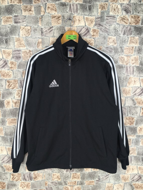 ADIDAS EQUIPMENT Track Jacket Medium Vintage 90s Adidas Three Stripes Sportswear Track Top Adidas Athletic Black Windbreaker Jacket Size M