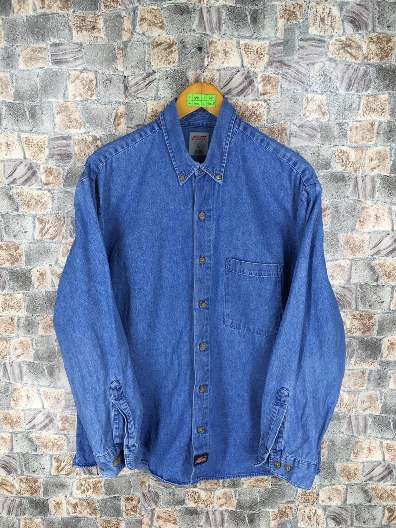14a6e68338 DICKIES Denim Shirt Large Vintage 90s Dickies Buttondown