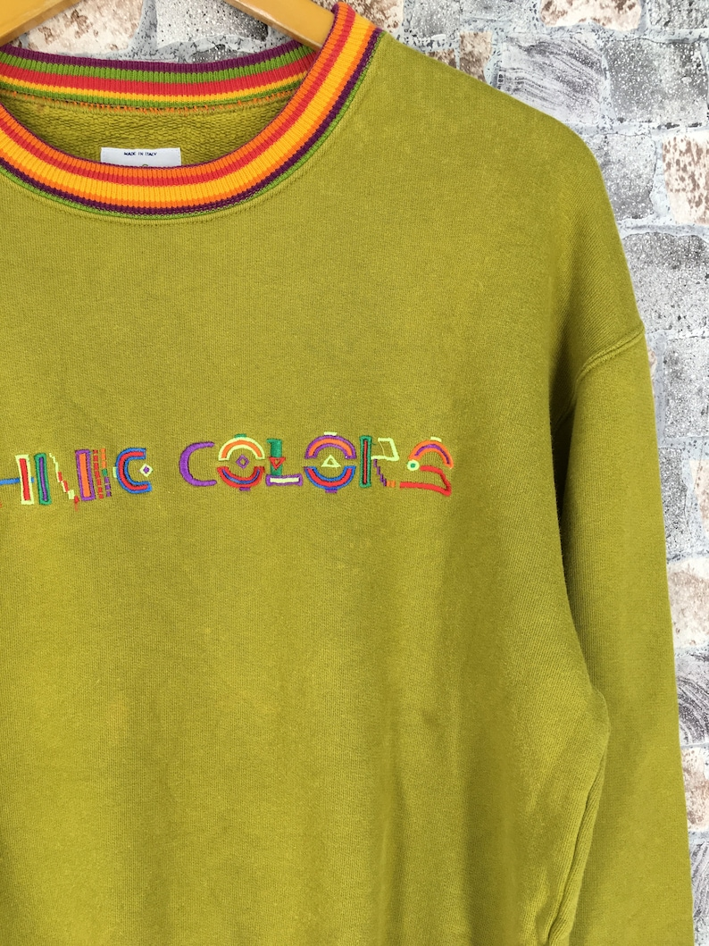 United Colors BENETTON Sweatshirt Small Benetton Ethnic Colors Spell Out Multicolour Lime Benetton Pullover Benetton Crewneck Sweater S