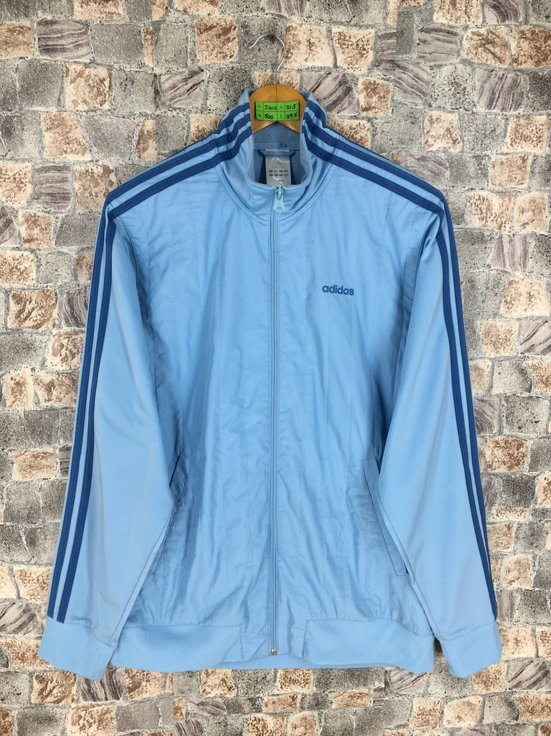 ADIDAS Windbreaker Jacket Medium Vintage 90's Adidas Equipment Big Logo Sportswear Blue Adidas Windrunner Track Top Zipper Sports Size M