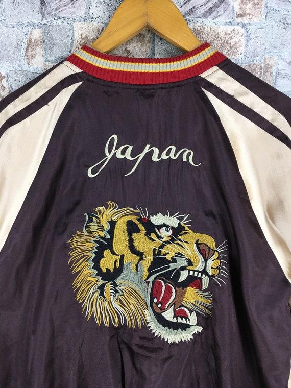 Satin Varsity Dragon Tiger Medium Vintage Reversible Jacket Jacket Sukajan 80s M Roar Souvenir Size Bomber Dragon SUKAJAN Japanese qnpzx7qP