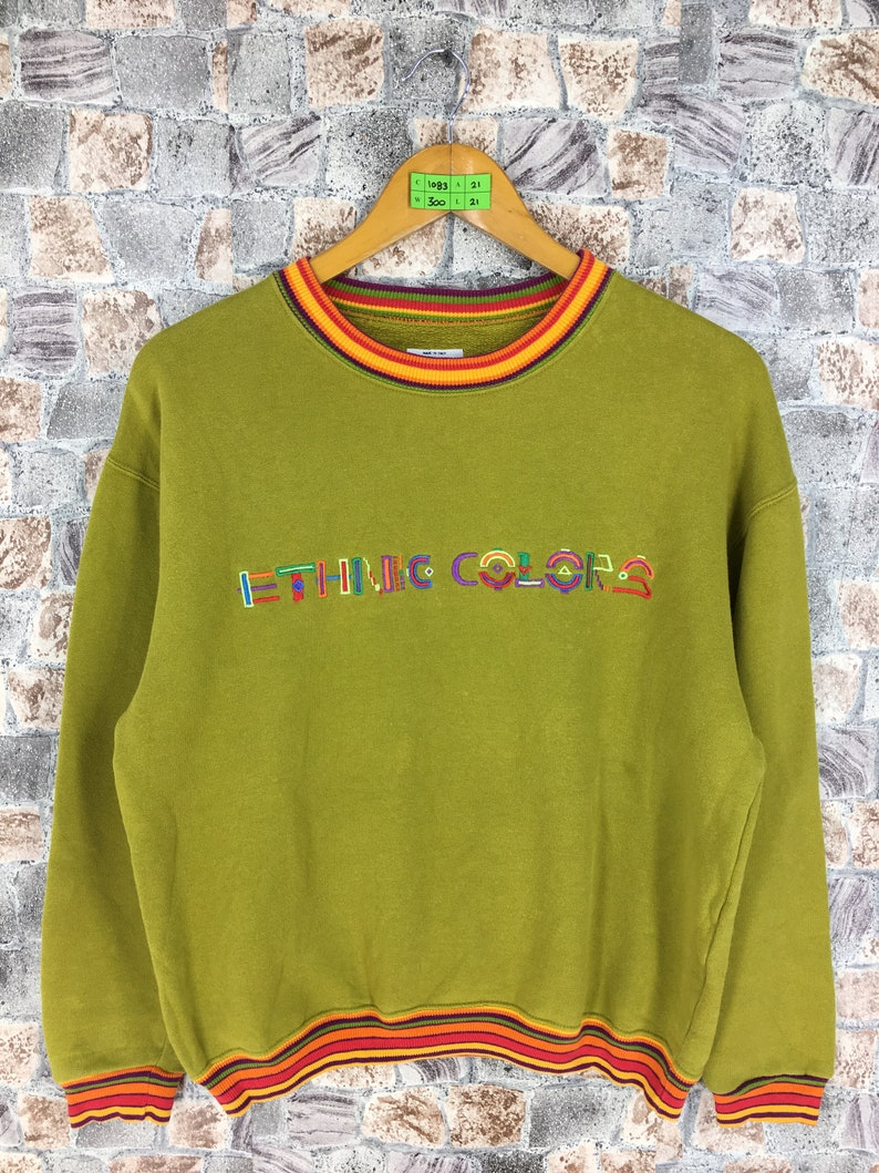 48175e671b4d3 United Colors BENETTON Sweatshirt Small Benetton Ethnic Colors Spell Out  Multicolour Lime Benetton Pullover Benetton Crewneck Sweater S