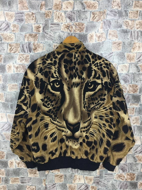 Tiger Leopard Varsity M Prints Animal Jacket 1990s Bomber Novelty Bomber Vintage Abstract Size Jacket Royalty Medium Vintage Tiger Roar wR7qAC