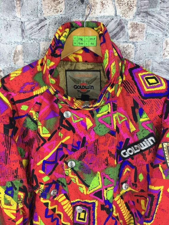 90's Colorblock Neon Skiwear Bomber L Vintage Jacket Multicolour Sportswear Snow Goldwin Hoodie Jacket Large Size Jacket Suisse GOLDWIN 7HIq0Pq