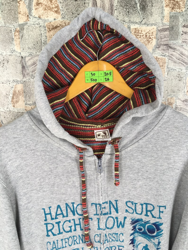 Vintage 90/'s Hang Ten Hoodie Sweater Large Women Pipeline Aloha Hawaii Surfing Enjoy Surf Beach Hawaiian Surfer Gray Sweatshirt Size L
