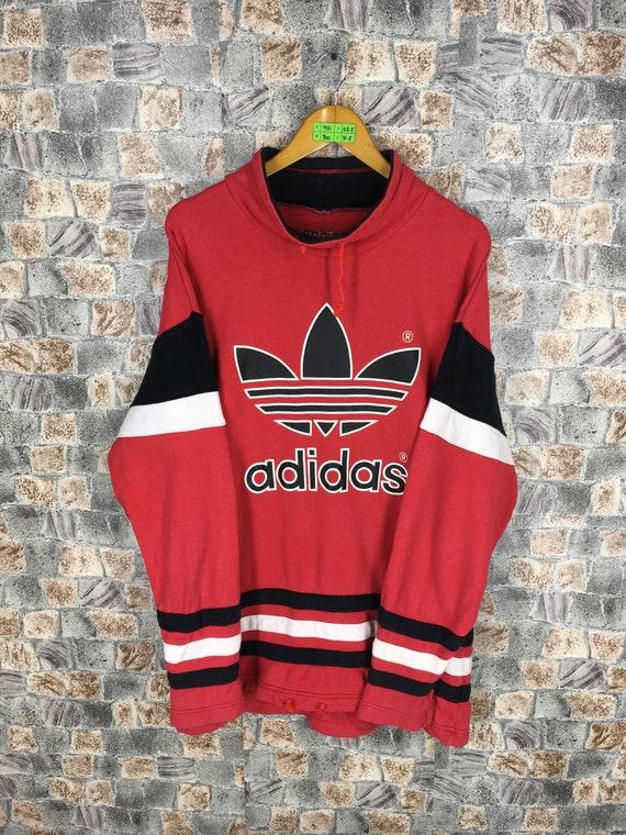 cebfe4869ce95 ADIDAS RUN DMC Sweatshirt Large Vintage 80s Adidas Trefoil Big   Etsy