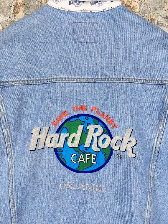 Denim Xlarge Jeans CAFE HARD Vintage ROCK Save Xl Trucker Jacket Denim Orlando Embroidery Usa Rock Hard Planet Button Jacket Blue Jeans 1nt1gYW