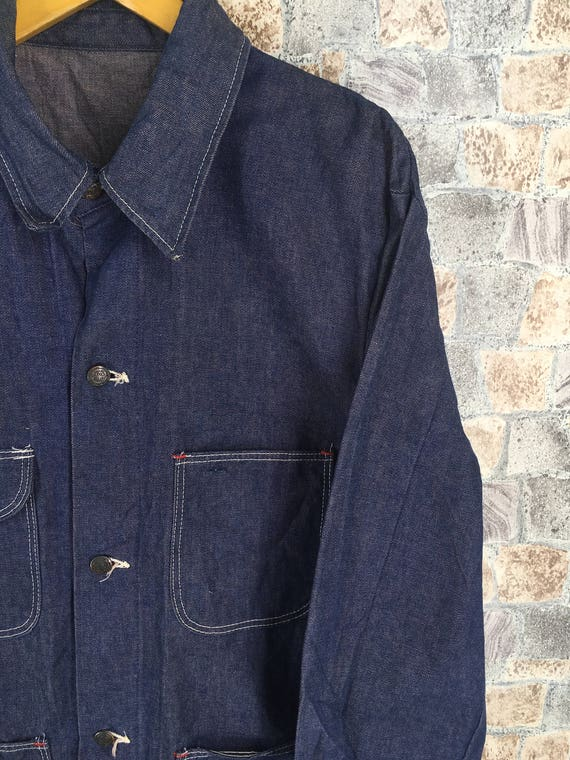 Workers 1980's Vintage BLUE Denim Blue 44 Made BELL Workwear Labour Jacket Large 70s Coat Size Jacket Union Jeans dfqAdrw