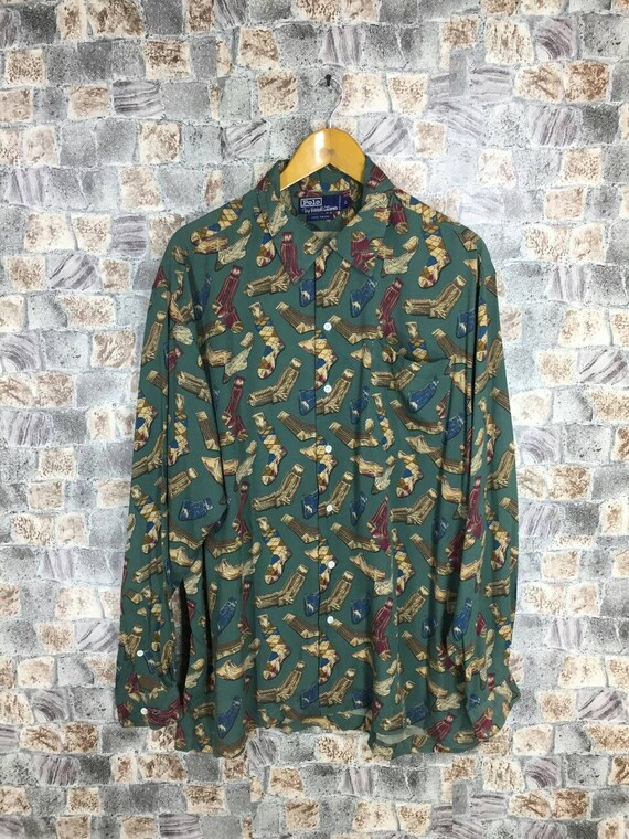 Shirt Large LAUREN Buttondown Oxfords Shirt Hip Polo Art Print Snowbeack Vintage Rare Hop Sock Wing Shirt P Over RALPH Polo 90s All EXIZq