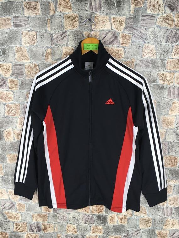 0080f0d2088 ADIDAS Track Top Black/Red Jacket Women Medium Vintage | Etsy