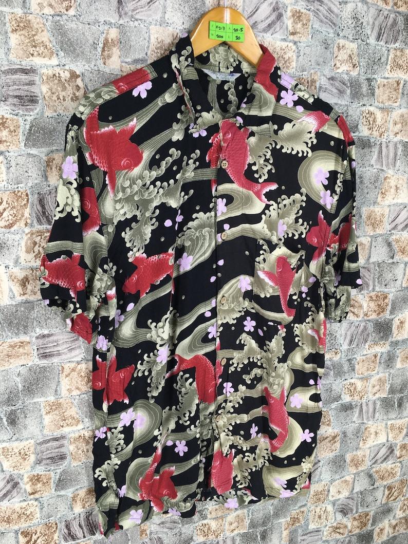 89f41451 HAWAIIAN Rayon Shirt Mens Large Vintage Fish Koi Hawaii Surf   Etsy