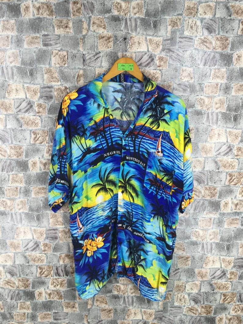 0a3dc05c3 HAWAIIAN Coconut Tree Shirt Men XLarge Vintage Ocean Beach | Etsy