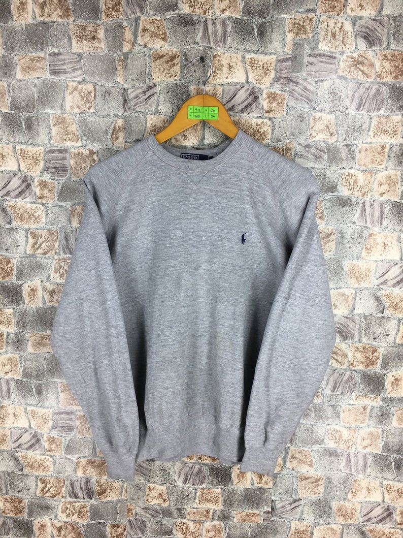 909587f74a42 POLO RALPH LAUREN Gray Sweatshirt Small Vintage Ralph Lauren