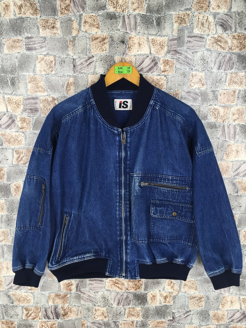 53bb744088 ISSEY MIYAKE Jeans Jacket Ma-1 Medium Vintage 80s Issey Sport