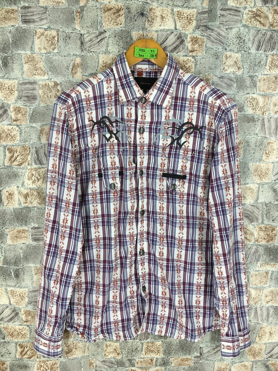 Vintage Checkered Western Shirt Women Large 1990's