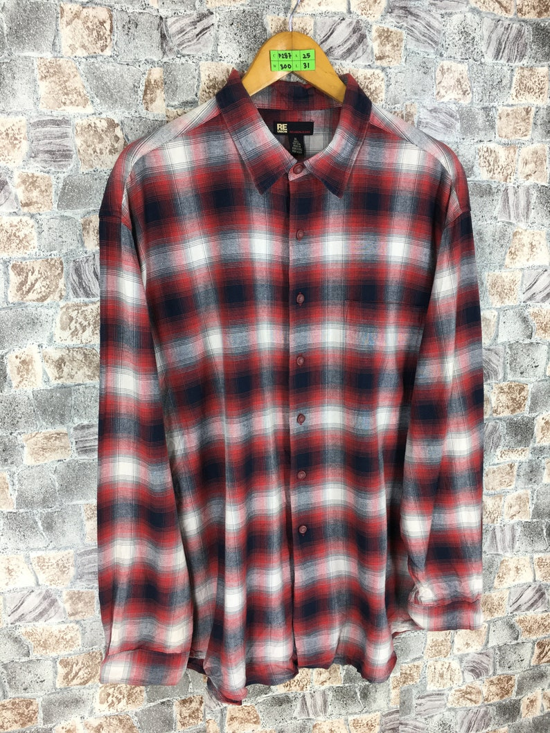 4dc66cbbe Vintage 90s Plaid Shadow Flannel Multicolor Xlarge Streetwear | Etsy