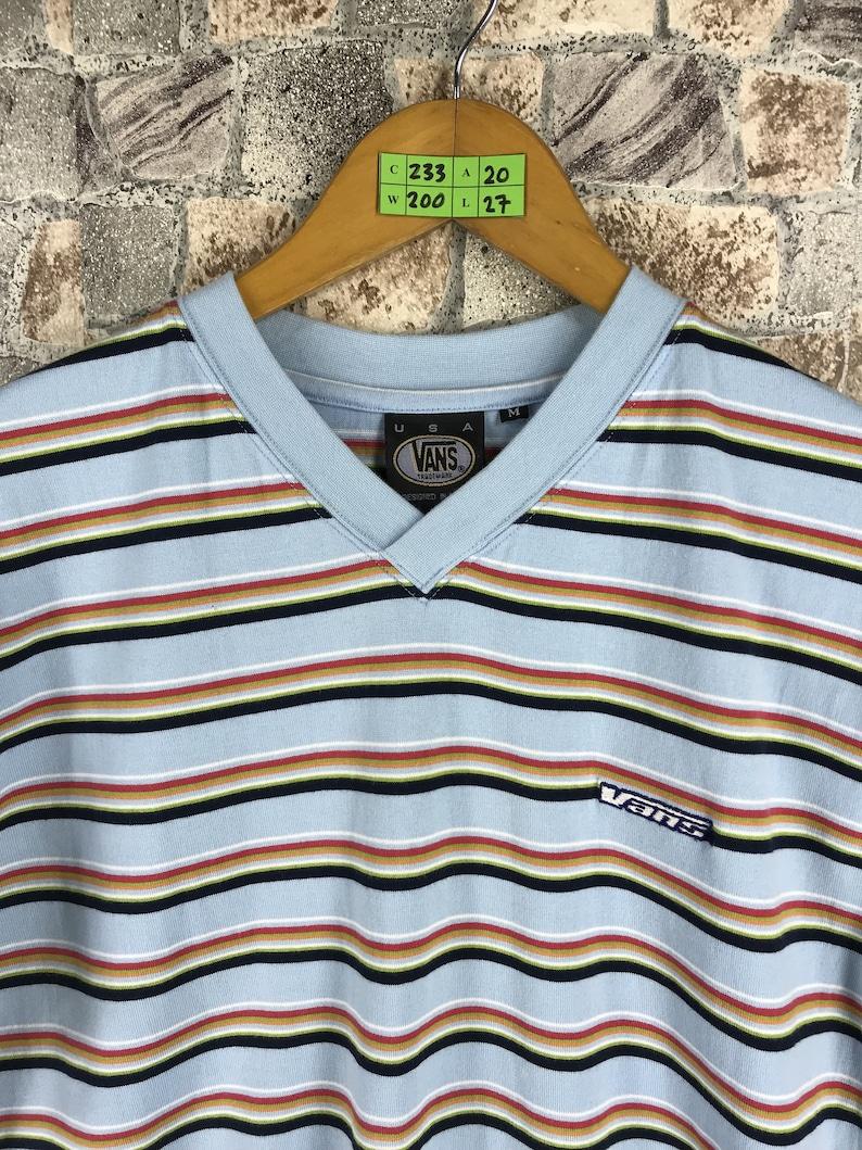 868a3bcf3c Vintage VANS USA Stripes Tshirt Medium 90 s Rockabilly