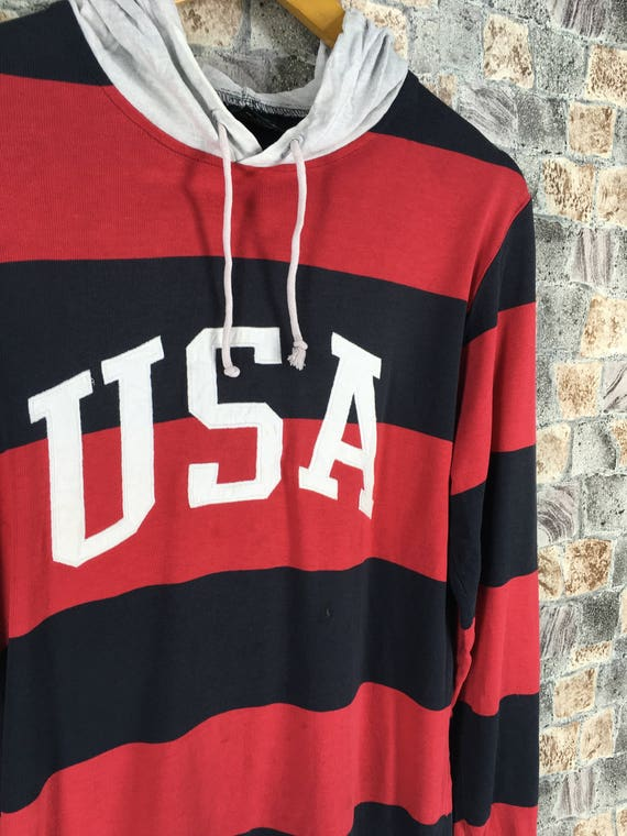 Lauren Ralph L Jacket Black Size Polo Sweater Red Jumper Striped Spell SPORT Vintage POLO Hoodie 90s Large Sweatshirt Out Hoodie FqwXHwY