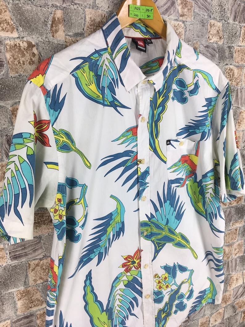 781d204c Vintage QUIKSILVER Hawaiian Shirt Large 90s Hawaii Floral | Etsy